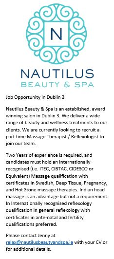 Job opportunity Nautilus Beauty and SPA